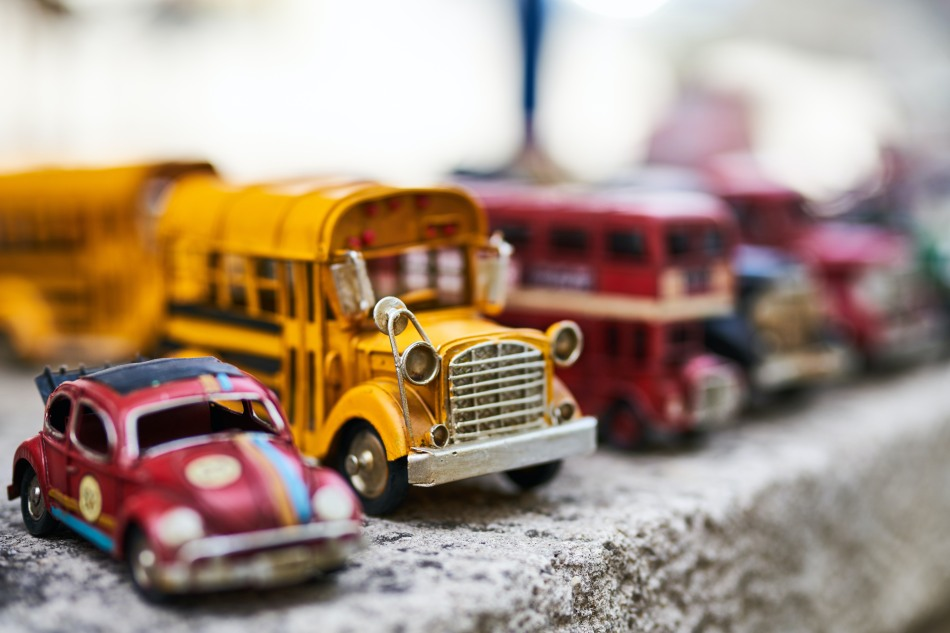 Model cars and busses