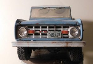 Blue Ford Bronco front view